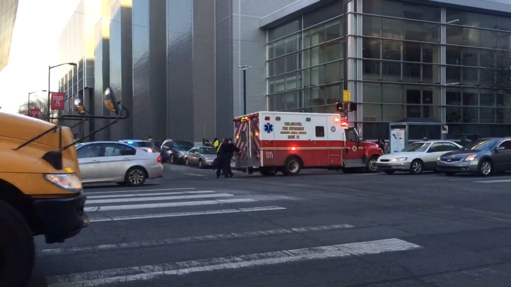 First responders on the scene of an unexpected death at the intersection of Montgomery & Broad St.