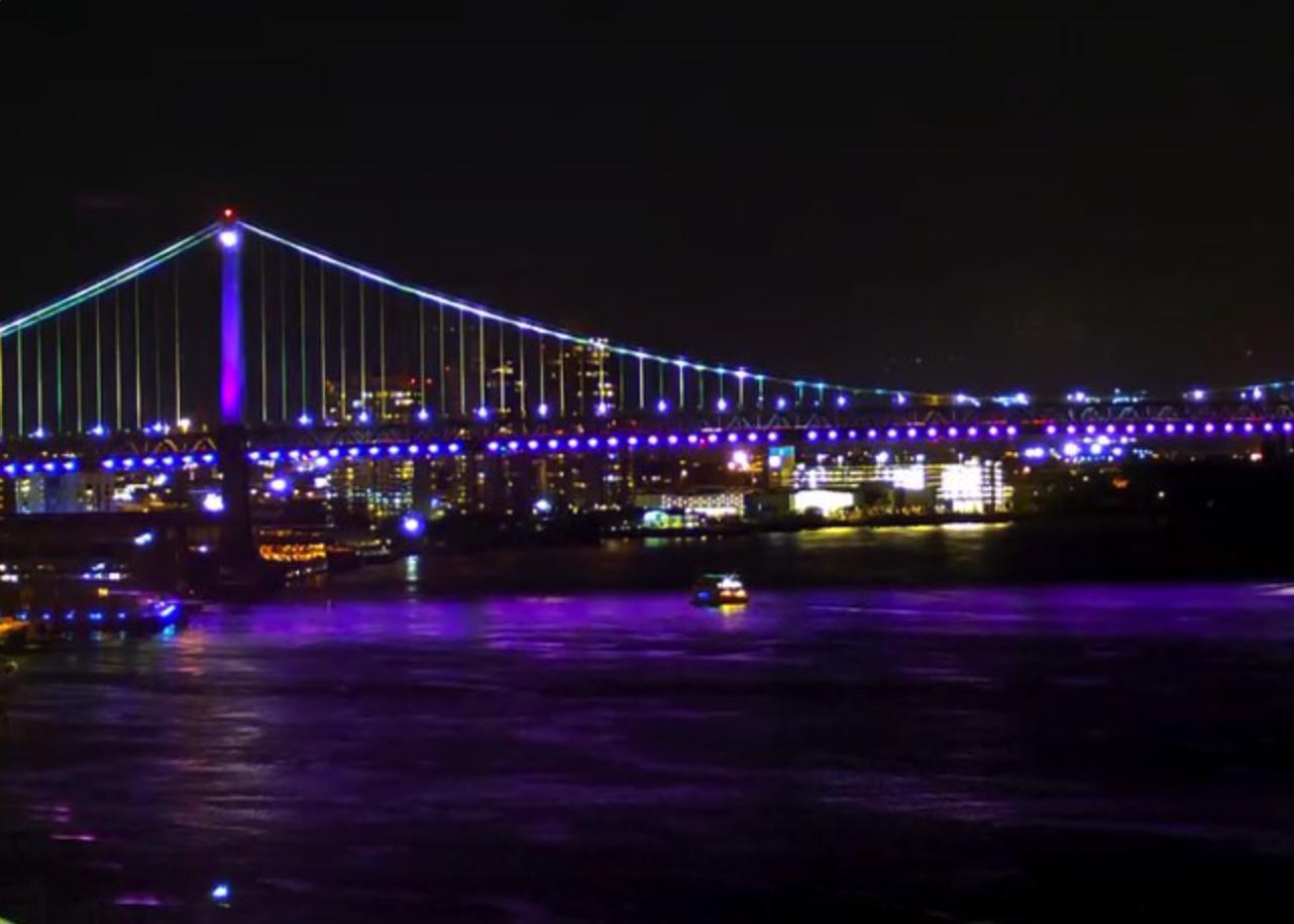 Philadelphia Bridge Goes Purple in Memory of Prince