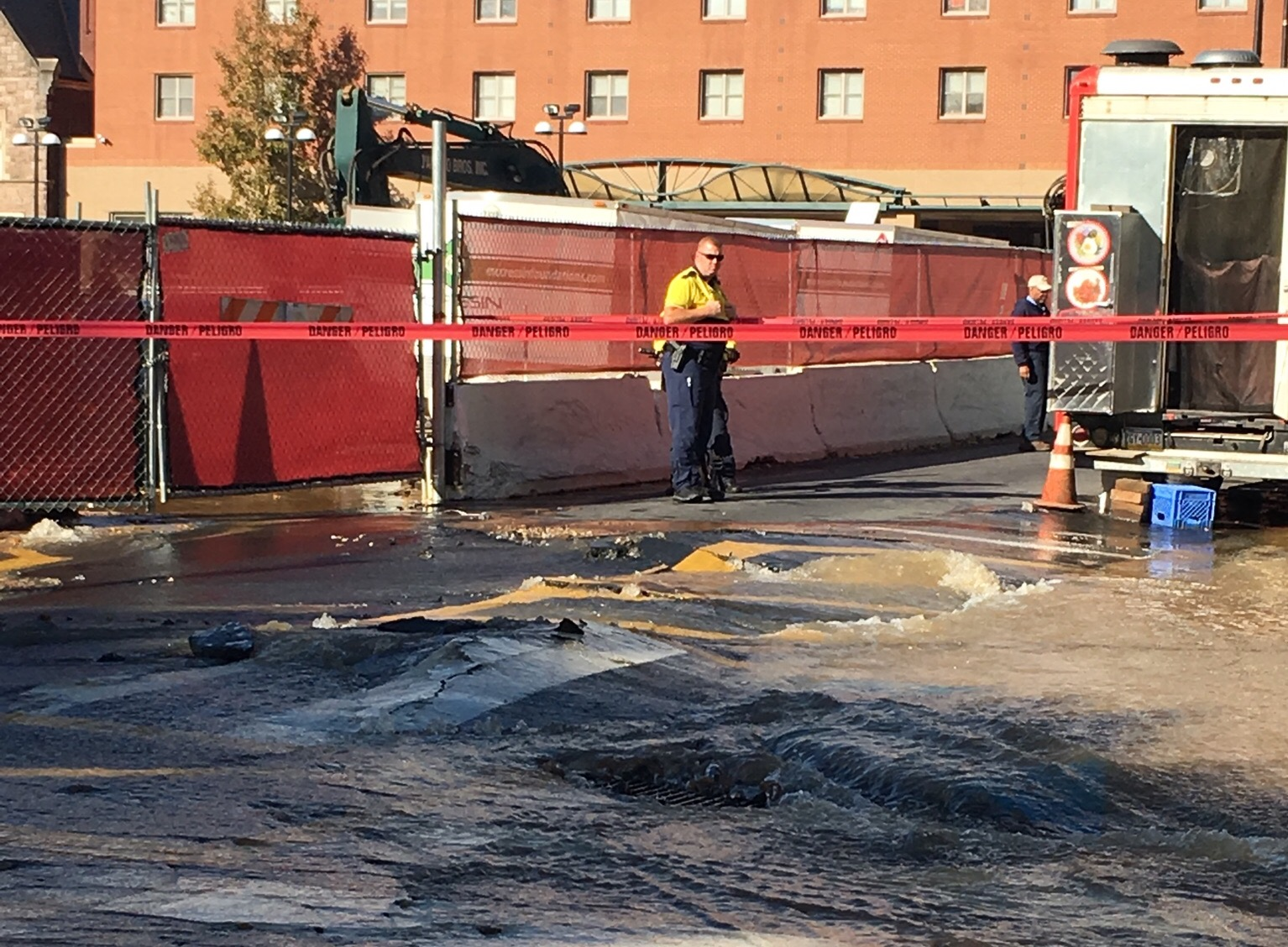 Water Main Break on Campus Shuts Down 13th and Norris Streets. Courtesy: Sarah Schields