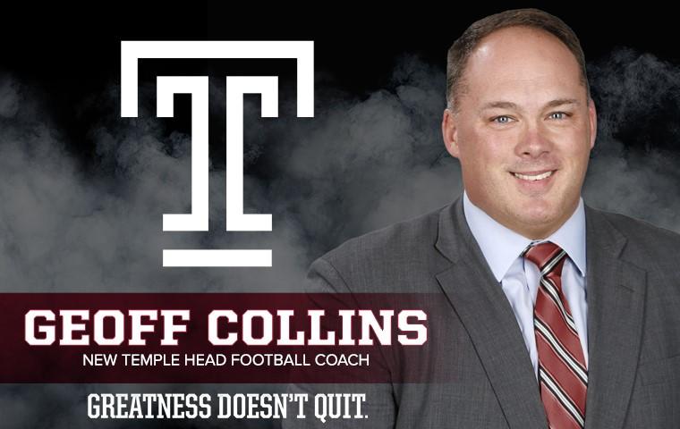 Geoff Collins is named Head Coach of Temple Football following Matt Rhule's departure.