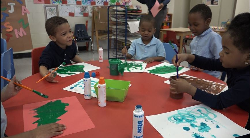 Children at RW Brown Community Center play in pre-K class.