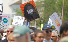 Activists calling for greater action to address climate change march in Washington.